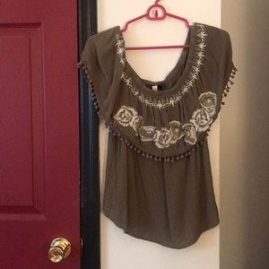 Francesca's Collections Tops - olive green blouse